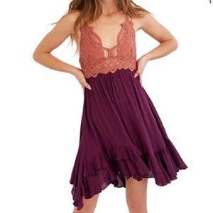 ✨Free People Adella Lace Slip Mini Dress in Copper